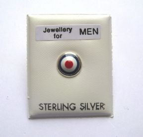 Mens Sterling Silver Enamelled Red, White and Blue Target men mod stud earring